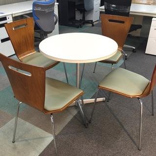 中古 5点セット ラウンドテーブル 丸テーブル ラウンジテーブル 応接・ロビー・カフェ 椅子4脚 の画像