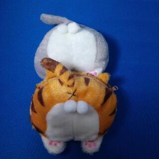 新品:猫のお尻 ミニポーチ2個セット(グレーホワイト&チャ…