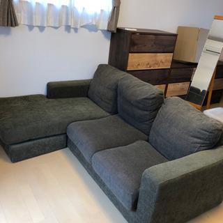 カーキ色ソファー 3人掛け/3人掛け+カウチ可能
