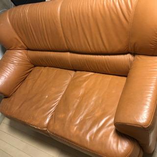 2人掛けソファー(オレンジ色の皮)