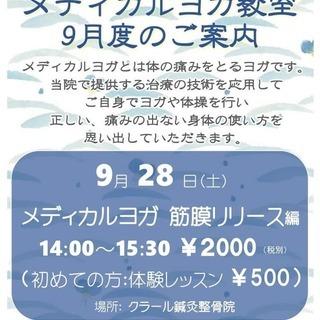 【メディカルヨガで快適な生活を!!】:体験レッスンも募集中です!!