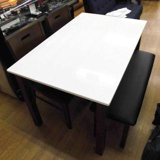 4人掛けダイニングセット 白×ブラウン 食卓セット イス×2 ベ...