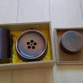銅製茶筒と建水セット