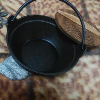 鉄鍋 いろり鍋 南部鉄器 南部池永 21㎝ 日本製 中古品