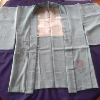無双羽織り:正絹  丈約77cm 水色に黒鼠桃色刺繍