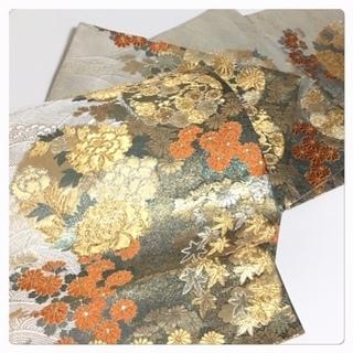 美品 未使用 極上 西陣織り 高級呉服 四季花紋 六通 正絹 袋帯