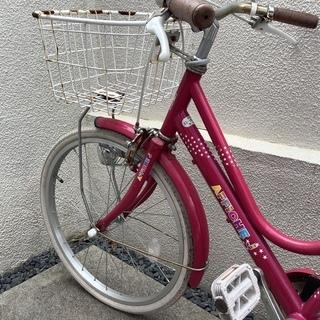 子ども用 20インチ ピンク シティサイクル タイヤパンク
