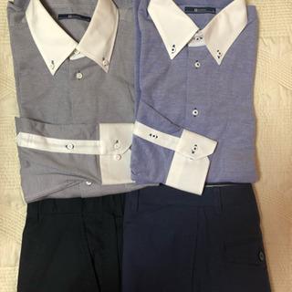 ブルー系秋ファッション LL長袖ニットシャツ2枚+W85と88綿...
