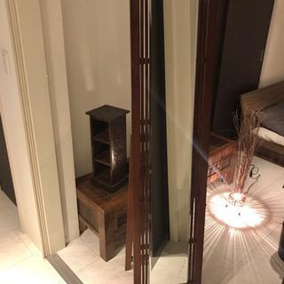 スタンドミラー 姿見 アジアン家具 ウッド 木製
