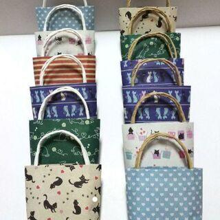 ミニミニ紙袋(横マチ無し) ネコ柄12枚セット