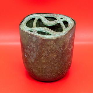 【コレクション・未使用】羽原一陽 鋳銅 挿花瓶の画像