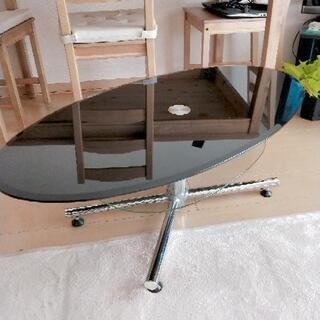 ガラステーブル(楕円、黒)