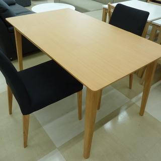 安井家具 ダイニングテーブルセット 伸縮式 チェア2脚 天然木素...