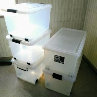 大型透明収納ボックス5個 ふた・キャスター付