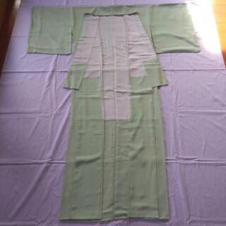 着物:正絹 色無地 うぐいす色