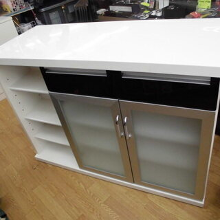 バーカウンター 収納付きカウンターテーブル 対面式 白×黒 幅1...
