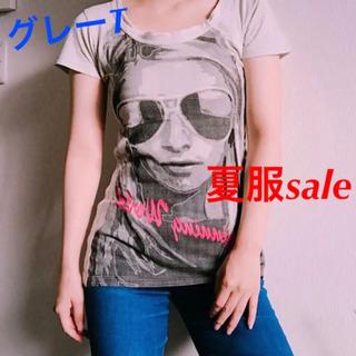 夏服セールしてます!Tシャツ グレー 女性の顔T