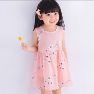 新品 ワンピース ドレス 花柄 ピンク 80