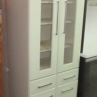 htp-217 食器棚 2連 白 キッチン家具 キッチン収納 食器収納