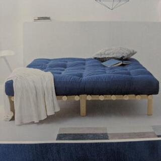 展示品★マットレス付ベッド 幅140cm ネイビー
