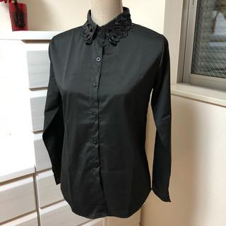 値下げ!ブラウスシャツ☆シンプルレザーレース襟光沢ゴシック☆ブラック黒