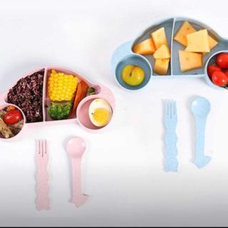 新品 プレート 食器 皿 離乳食 おやつ 車 水色 ブルー スプ...