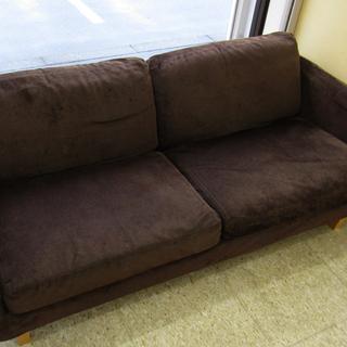 中古品 無印良品 2Pソファー 二人掛けソファー ブラウン 布製