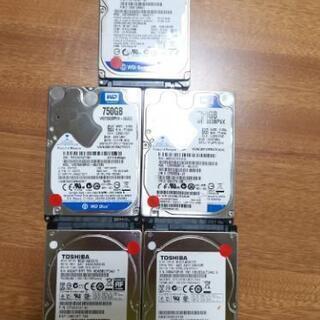 東芝750GB2枚とWD750GB3枚 の5枚セット