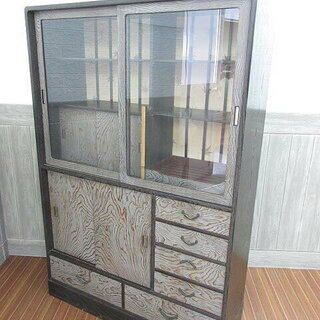 ss0282 木製 食器棚 茶箪笥 和箪笥 茶棚 飾り棚 ガラス...