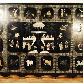 0690 圧巻 年代物 中国 黒漆塗 玉石彫刻 螺鈿細工 衝立 ...