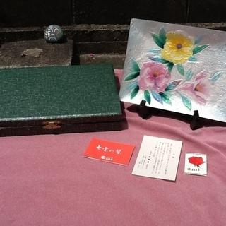 【レトロ品】七宝焼の飾皿 花柄 スタンド付 高島屋さんで購入 良品