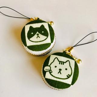 【ハンドメイド】和風猫柄マカロンポーチ ※1個¥500