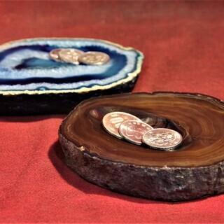 アゲートスライス 小物置き皿 アクセサリートレイ 赤瑪瑙 靑瑪瑙