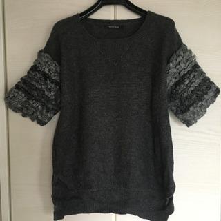 ROSE BUD モコモコ半袖セーター(グレー)*9/15に取り...