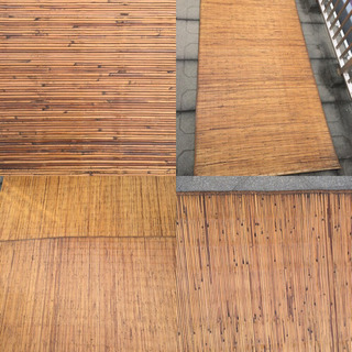 古民家 年代物 レトロ アンティークラグ ゴザ 木製 4枚セット