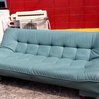 ソファーベッド 1840×800×380~660 薄緑系 合成皮...
