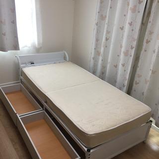ハーフ収納付きベッド シングル マットレス付き