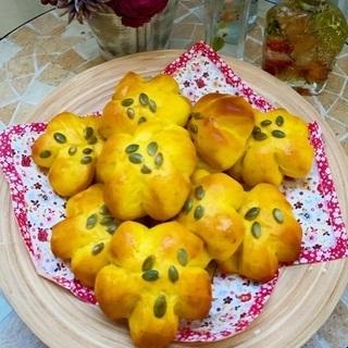 ハロウィンかぼちゃ制作とかぼちゃお花パン