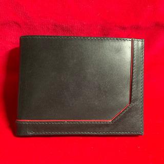 売切り価格  折畳み財布 本革製 未使用 黒 コイン入れ付き - 茂原市