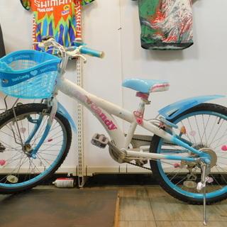 【エコプラス小倉南店】22インチ 女の子用自転車 水色 6段変速...