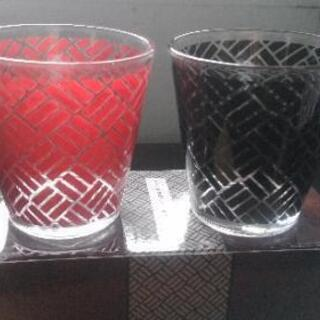 モダン伝統柄ペアグラス 網代模様 二客組 未使用品