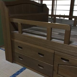 引き出し、宮付き木製ベッド