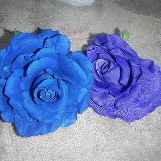 フラメンコ 小物 青と紫のバラ ヘアアクセサリー 髪飾り