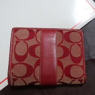 ◆coach◆シグネチャーキャンバス二つ折り財布 レッド 赤