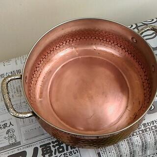 銅なべ 両手鍋 ガラスふた付き 中古 - 川崎市