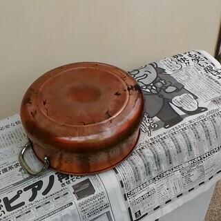 銅なべ 両手鍋 ガラスふた付き 中古 - 生活雑貨