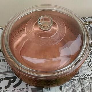 銅なべ 両手鍋 ガラスふた付き 中古 − 神奈川県