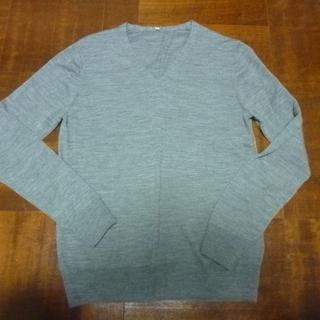 Vネック グレー 薄手 セーター