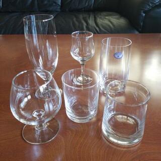 ボヘミアグラス(未使用)含む  グラス色々 6個セット