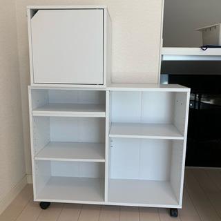 本棚 キャスター付き 押入れ収納 収納ボックス 収納 ラック 木製 白